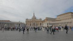 wide angle panning shot of saint peter's square, rome - stock footage