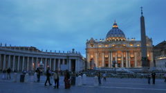 Panning shot of saint peter's square at dusk Stock Footage