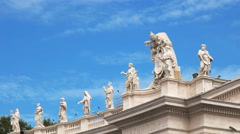 close up view of statues above the columns in saint peter's square, the vatican - stock footage