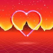 80s styled retro futuristic card with neon heart in computer world Stock Illustration