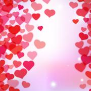 Stock Illustration of Valentines Day background with scattered blurred tender hearts