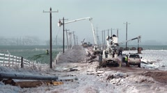 Many Power line workers in ice storm in Oklahoma Stock Footage
