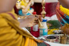 Traditional Indian Hindus blessing ceremony. - stock photo