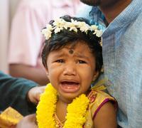 Indian baby girl crying - stock photo