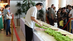 Giant sandwich in food show Stock Footage