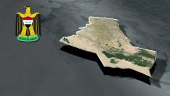 Dhi Qar with Coat of arms animation map Stock Footage