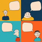 Comic faces with speech bubbles. - stock illustration
