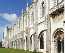 The Jeronimos Monastery or Hieronymites Monastery is located in Lisbon Stock Photos