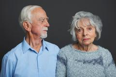 Studio Portrait Of Senior Couple - stock photo