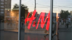 H&M logo behind the glass Stock Footage