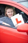 Teenage Girl Passing Driving Exam Stock Photos