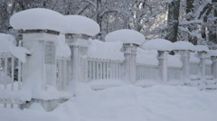 Snow continuous to fall in a winter season Stock Footage