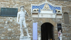 Low angle view of the statue of david replica, florence Stock Footage