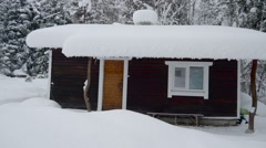 Stock Video Footage of A house in the village in Scandinavia in snow