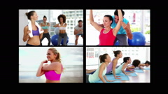 Collage of sporty people Stock Footage