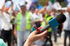 Microphone. Public demonstration. Stock Photos