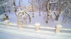 Aerial view of the trees on the side of the fence Stock Footage