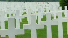 The aligned white cross in the cemetery - stock footage