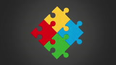 Puzzle assembling design, Video Animation Stock Footage