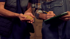 Brewery workers checking the quality of hob grains Stock Footage