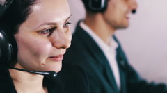 Call Center Operator Talking With Client - stock footage