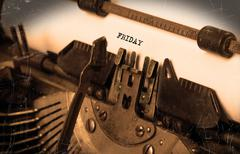 Stock Photo of Friday typography on a vintage typewriter
