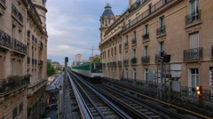 Coming subway train on Passy station in Paris Stock Footage
