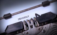 Thursday typography on a vintage typewriter - stock photo