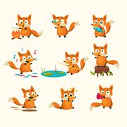 Fox Activities with different emotions. Vector Illustration Set - stock illustration