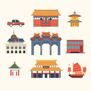 Traditional Chinese Buildings, Hong Kong travel elements. Vector Illustration Stock Illustration