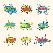 Common Comics Exclamations, speech bubble Vector Illustration Set - stock illustration