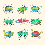 Comics Exclamations, speech bubble Vector Illustration Set Stock Illustration