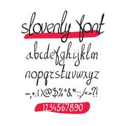 Vector handwritten brush alphabet with numbers and symbols on white backgroun Stock Illustration