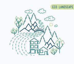 flat eco liner design, rural landscape, business - stock illustration