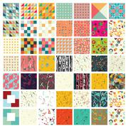 Big set of simple universal colorful geometric seamless pattern - stock illustration