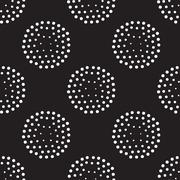 Vector geometric seamless pattern. Repeating abstract circles gradation in bl Stock Illustration