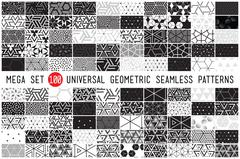 100 Universal different geometric seamless patterns Stock Illustration
