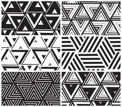 Set of universal vector geometric seamless pattern Stock Illustration
