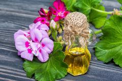 Essential geranium oil Stock Photos