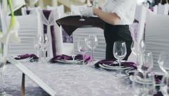 Restaurant catering services. waitress serving banquet table Stock Footage