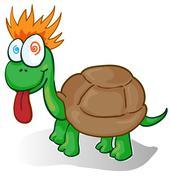 Vector illustration of a foolish cartoon turtle Stock Illustration