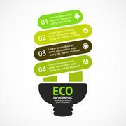 Energy efficient light bulb. Vector arrows green eco infographic. Ecology Stock Illustration