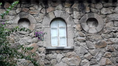Palace castle window, Quinta da Regaleira estate, Sintra, Portugal Stock Footage