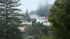 Magical forest mountain town, foggy cloudy sky, Sintra, Portugal Stock Footage