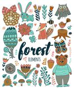 Vector forest elements in doodle childish style - stock illustration
