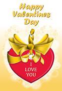 Holiday heart shaped card - stock illustration
