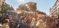 People on el Rastro flea market, Madrid, Spain. Stock Photos