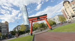 Japanese Art and Japonisme torii arch in Bilbao, good luck and prosperity symbol - stock footage