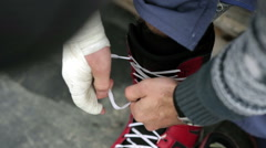 Lace-up shoes for snowboarding Stock Footage