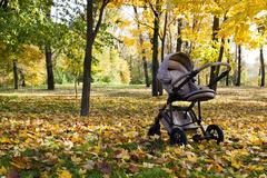 Stroller.  autumn season Stock Photos